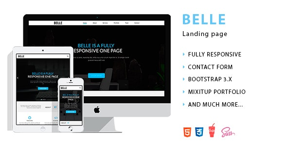 Belle - Landing Page HTML Template - Creative Site Templates