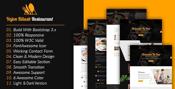 Vojon Bilash Restaurant HTML5 Template - Restaurants & Cafes Entertainment