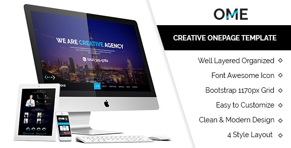 OME Creative Onepage Template - Photoshop UI Templates