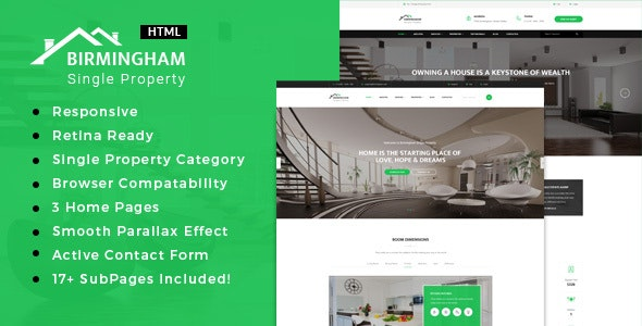 Brimingham   Real Estate Single Property HTML5 Template - Business Corporate