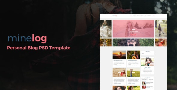 minelog Personal Blog PSD Template - Personal Photoshop