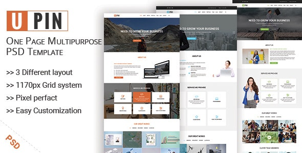 UPIN - One Page Multipurpose PSD Template - Corporate Photoshop