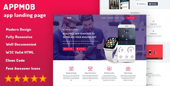 APPMOB - Mobile Develop Onepage HTML Template - Apps Technology