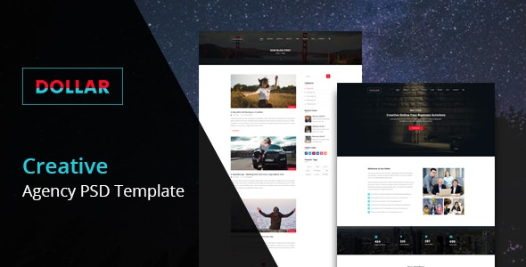 Dollar - Creative Agency One Page PSD Template - Photoshop UI Templates