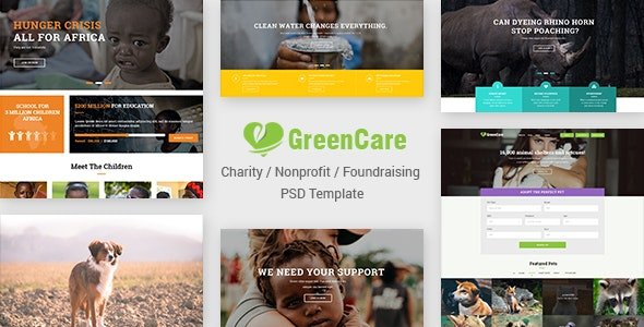 GreenCare | Charity, Nonprofit, Foundation PSD Template - Nonprofit Photoshop
