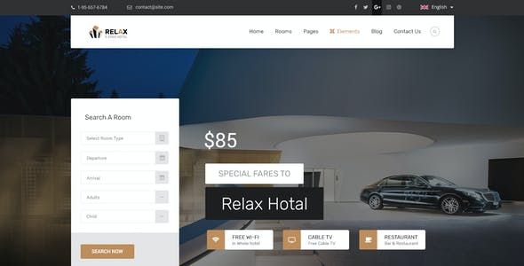Hotel Relax for Reservation, Resort and Spa PSD Template