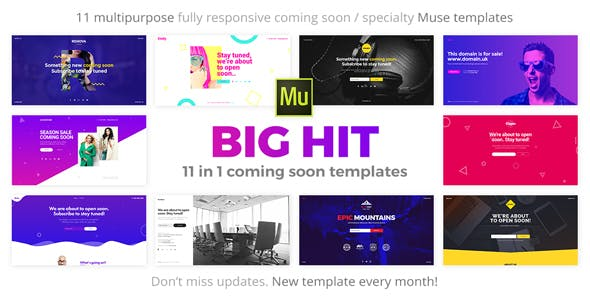 Download BigHit - 11 in 1 Coming Soon Responsive Muse Templates