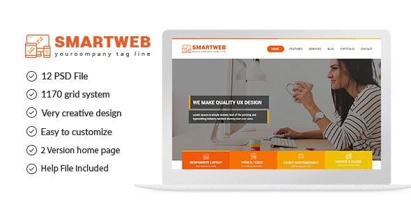 Smartweb - Freelancer Web & Graphic Agency PSD Template - Creative Photoshop