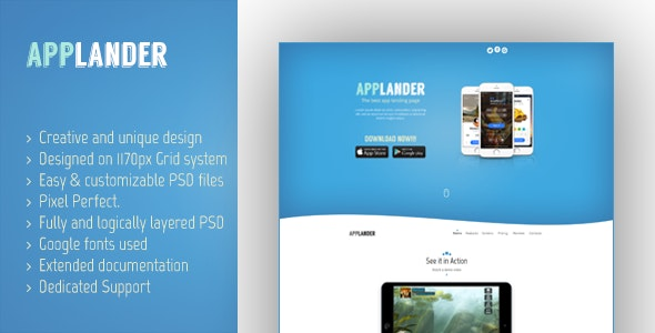 Applander - One Page App Landing PSD Template - Marketing Corporate
