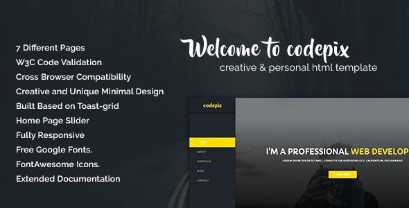 Codepix - Creation & Personal HTML Template - Personal Site Templates