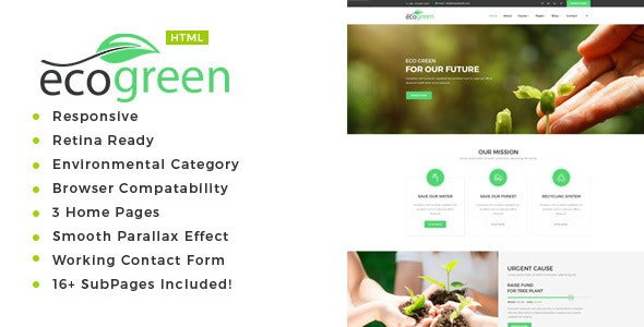 Ecogreen - Environment / Non-Profit HTML Template - Environmental Nonprofit