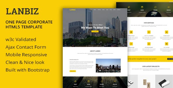 Lanbiz - One Page Corporate Html5 Template