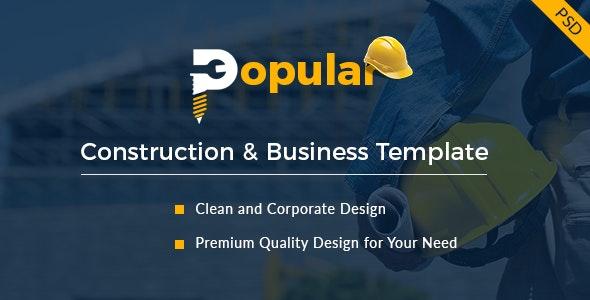 Popular - Premium Construction PSD Template - Business Corporate