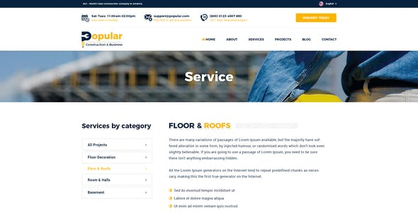 Popular - Premium Construction PSD Template