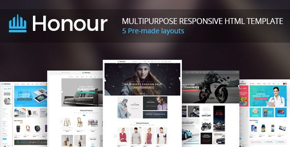 Honour - Responsive Multipurpose E-Commerce HTML5 Template - Retail Site Templates