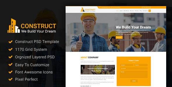 Construct - Construction PSD Template - Photoshop UI Templates