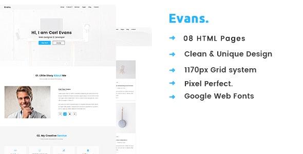 Evans – Minimal Personal Portfolio HTML Template - Portfolio Creative