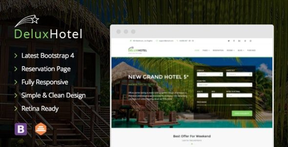 DeluxHotel - Responsive Bootstrap 4 Template For Hotels - Travel Retail