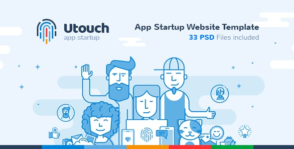 Utouch - App Startup Website PSD Template - Creative Photoshop