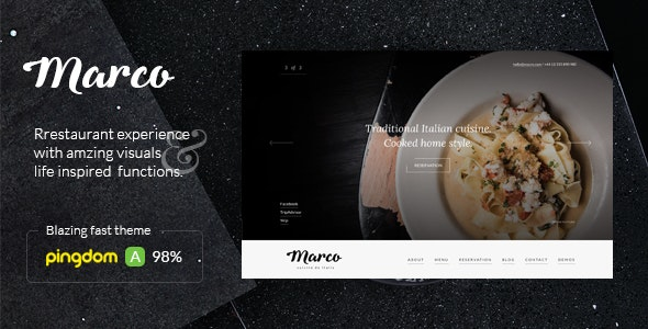 Marco Restaurant Cafe WordPress Theme - Restaurants & Cafes Entertainment