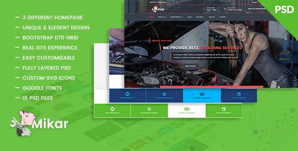 Mikar - Repair Shop PSD Template - Business Corporate