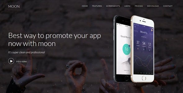 Moon - Responsive App Landing Template - Personal Site Templates