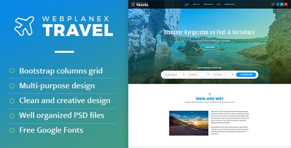 Tour & Travel PSD Template by WebPlanex - Travel Retail