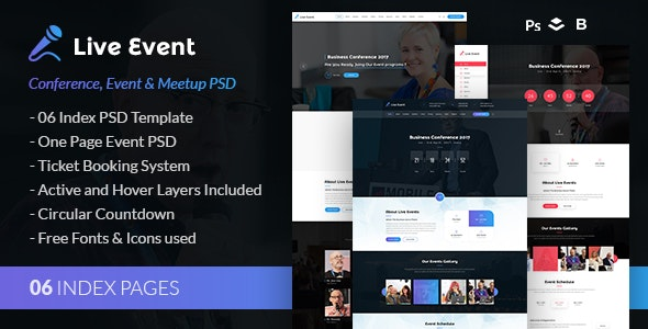 Live Event - Conference & Meetup PSD Template - Events Entertainment