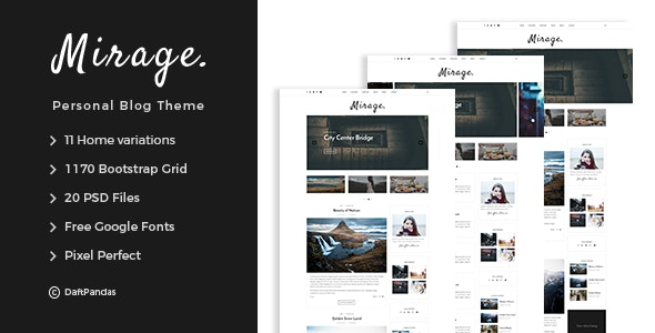 Mirage - Personal Blog PSD Template - Personal Photoshop