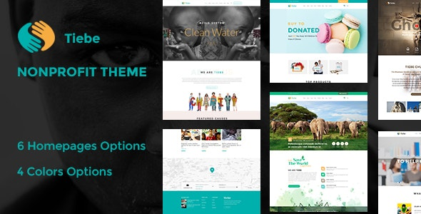 Tiebe Charity Non-profit  PSD Template. - Nonprofit Photoshop