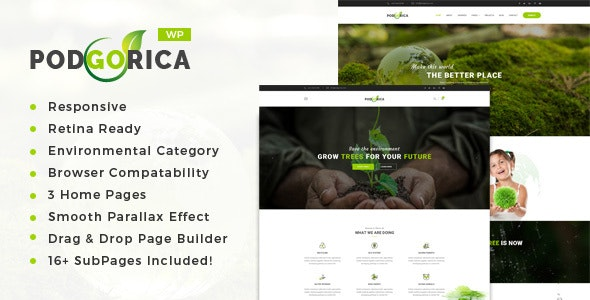 Podgorica - Environment and Renewable Energy WordPress Theme - Environmental Nonprofit