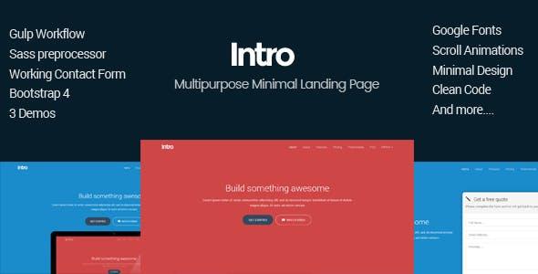 Intro - Minimal Multipurpose Bootstrap4 Landing Page