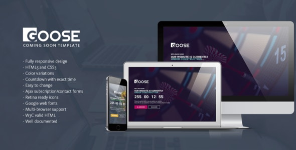 Goose - Responsive Coming Soon Page Template - Under Construction Specialty Pages