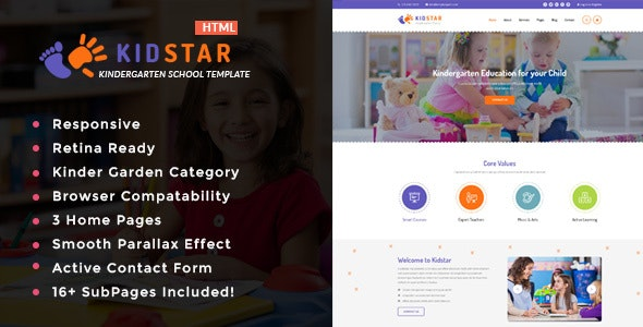 Kidstar - Kindergarten & School HTML Template - Children Retail