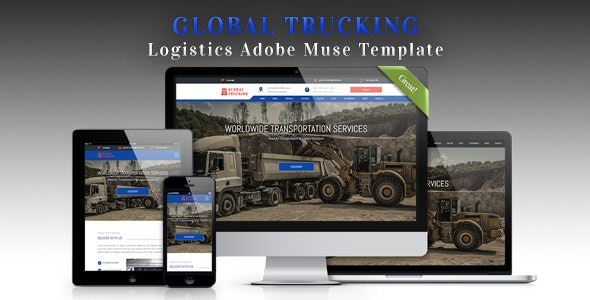 GLOBAL TRUCKING - Logistics Adobe Muse Template - Corporate Muse Templates