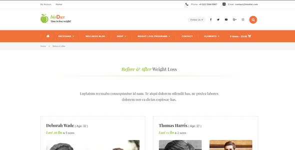 BioDiet - Nutrition & Weight Loss WordPress Theme