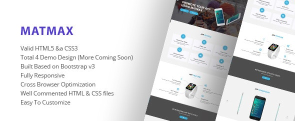 Matmax App Landing Page - Site Templates