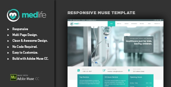 MEDLIFE - Medical & Health Muse Template - Corporate Muse Templates