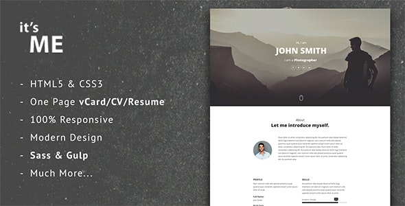 it'sMe - Responsive Vcard/CV/Resume Template - Virtual Business Card Personal