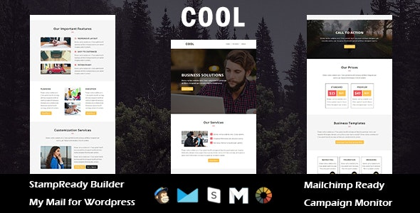 Cool - Multipurpose Responsive Email Template with Stampready Builder Access - Email Templates Marketing