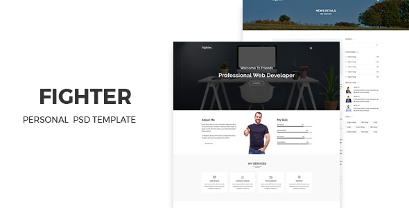 Fighter - Personal Portfolio PSD Template - Photo Gallery Personal