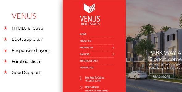Venus - Real Estate Responsive HTML5 Template - Business Corporate