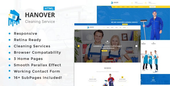 Hanover : Cleaning Service Responsive HTML5 Template - Personal Site Templates