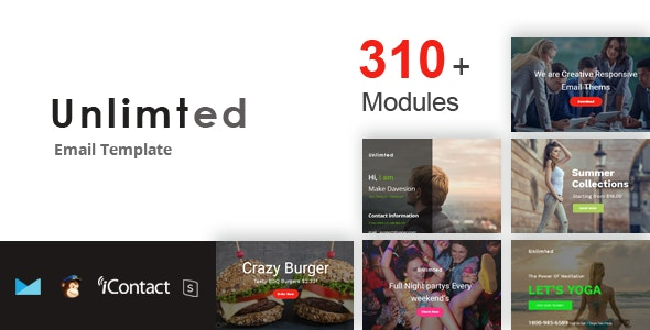 Unlimted Mail 300+ Modules - Responsive E-mail Template + Online Access - Email Templates Marketing