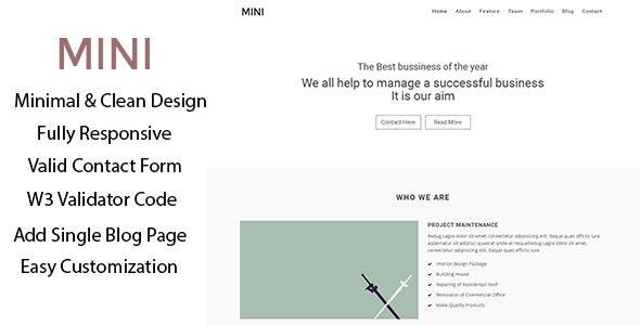 Mini –  Business Minimal HTML Template - Portfolio Creative