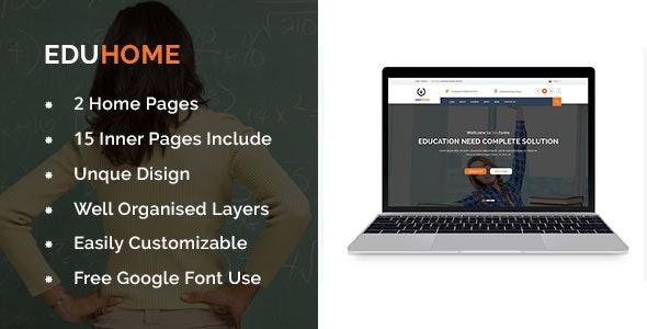 Eduhome – Education,University and Online Courses Template - Photoshop UI Templates