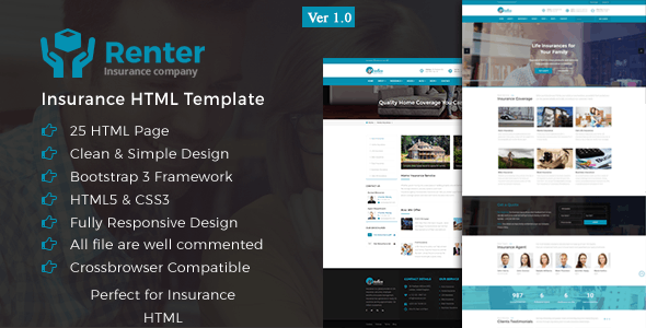 Renter - Insurance HTML5 Template - Business Corporate
