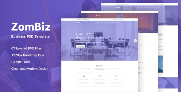 ZomBiz Business PSD Template - Business Corporate