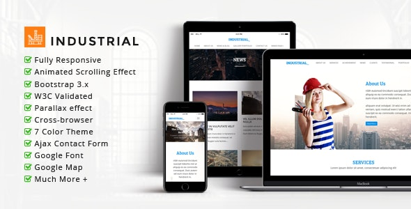INDUSTRIAL - Multipurpose Corporate Responsive HTML Template - Business Corporate