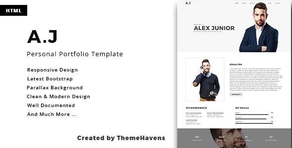 A.J - Personal One Page Portfolio Template - Portfolio Creative